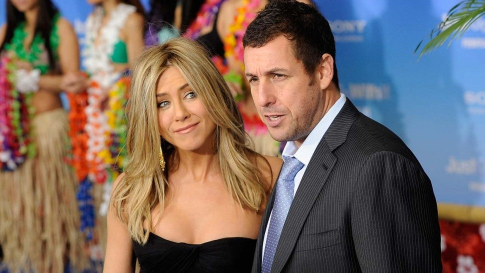 Jennifer Aniston and Adam Sandler at the 'Just Go With It' premiere in 2011